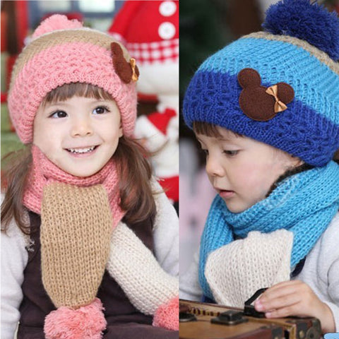 Winter Knitted Wool Hat & Scarf Set