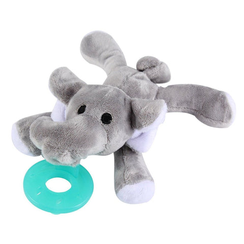 Pacifier Holder, Stuffed Elephant With Silicone Binky Teething Soother