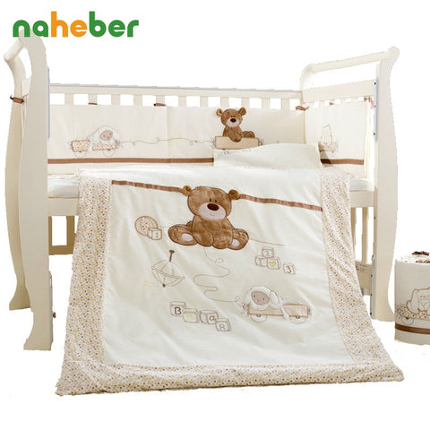Cotton Baby Cartoon Bedding Set which includes Detachable Quilt, Pillow, Bumpers, & Sheet, 4 Sizes
