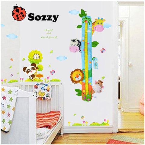 Child Height Chart with Decorative Cartoon Animals