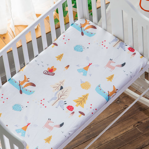 100% Cotton Crib Mattress Cover Fitted Sheet, 130 * 70 cm