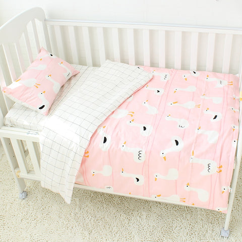 3 piece Pure Cotton Crib Bedding Set, Includes Pillowcase, Bed Sheet & Duvet Cover Without Filler
