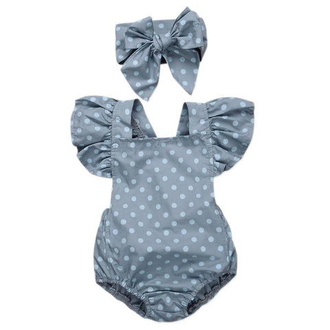 Fashion Fly Sleeve Romper with Headband 0-18 mos.