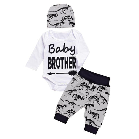 "Long Sleeve ""Baby Brother"" printed Romper Top & Matching Pants with Hat Set 0-12 mos"