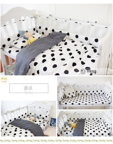 7pieces Cartoon Pattern Crib Bedding Set Including Bumpers, Sheet, Duvet/Quilt Cover, Pillowcase