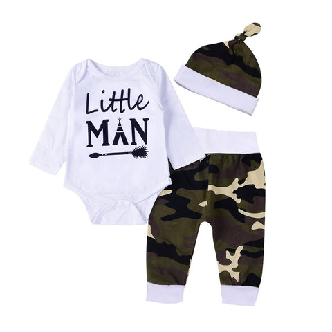 "Long Sleeve Romper printed ""Little Man"" & Camouflage Long Pants & Hat Set 0-18 mos"