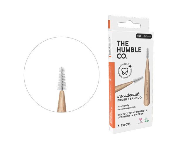 Humble interdental brush bamboo - orange 6-p (size 1 - 0,45 mm)