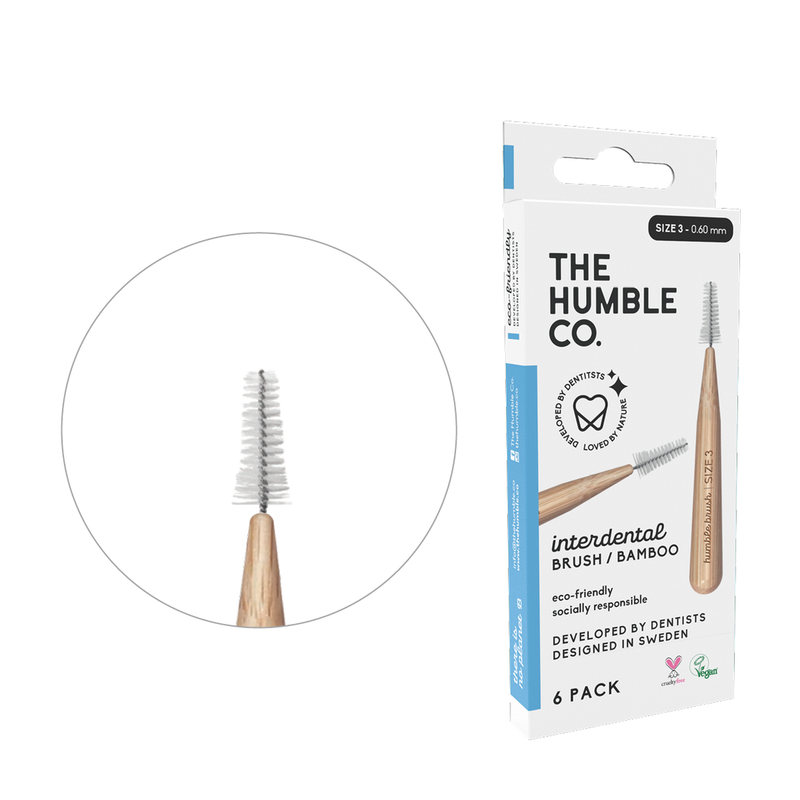 Humble interdental brush bamboo - blue 6-p (size 3 - 0,6 mm)