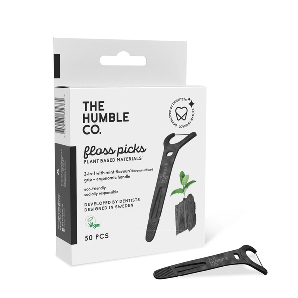 Humble natural humble floss picks - grip handle - charcoal (50 pack)