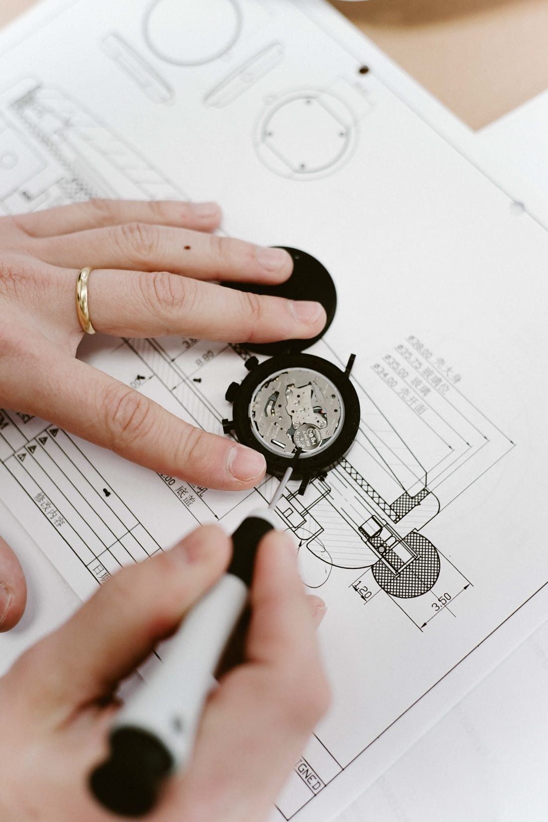 Details of an Aark Collective watch design