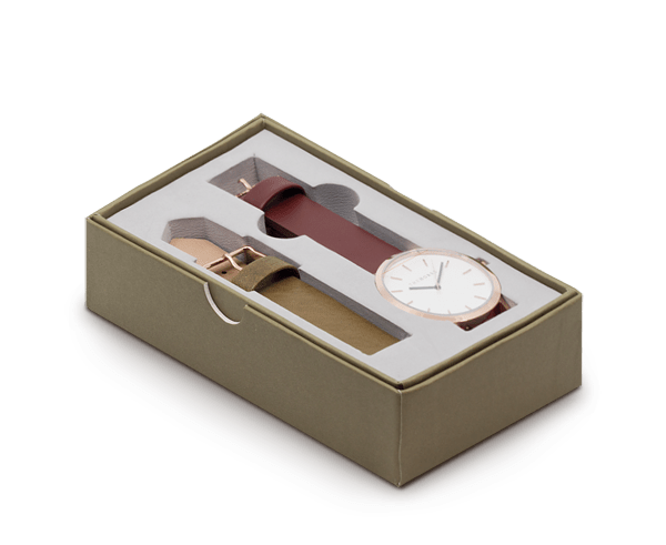 The Horse Original watch with Walnut and Olive bands and Polished Rose Gold face