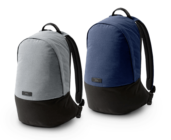 The Bellroy Classic Backpack in 3 new colours; Ash, Red Ochre and Midnight Blue