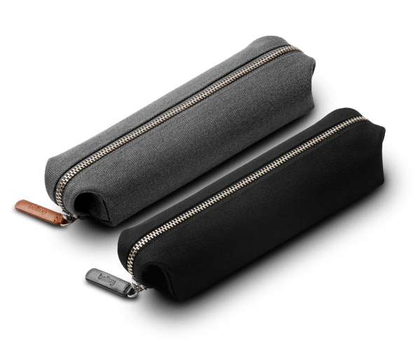 The Bellroy Pencil case in black or charcoal grey.
