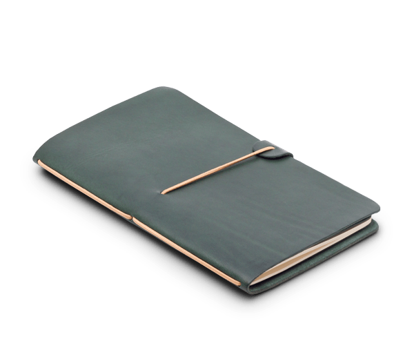 Limited Edition Racing Green Leather Notebook Cover from Isaac Francis