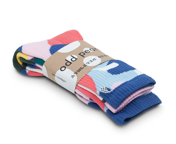 "Odd Pears Athletic Socks 3-Pack - ""Pears"" of three; two matching, one odd."