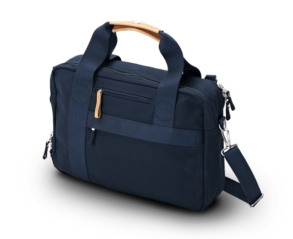 Qwstion office satchel bag in organic navy