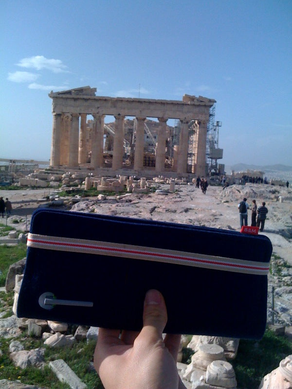 Bug & Megs Large Passport Wallet at the Acropolis of Athens