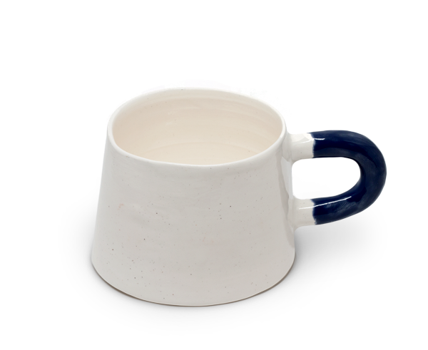 Sole Ceramics cup with blue handle