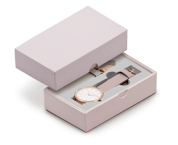 The Horse Original Watch Gift Set Polished Rose Gold Case with White Dial, Blush Strap and Grey Strap