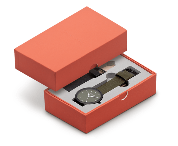 The Horse 'Original' Watch Gift Set in Matte Black Case, Olive Dial and Olive or Black Leather Strap