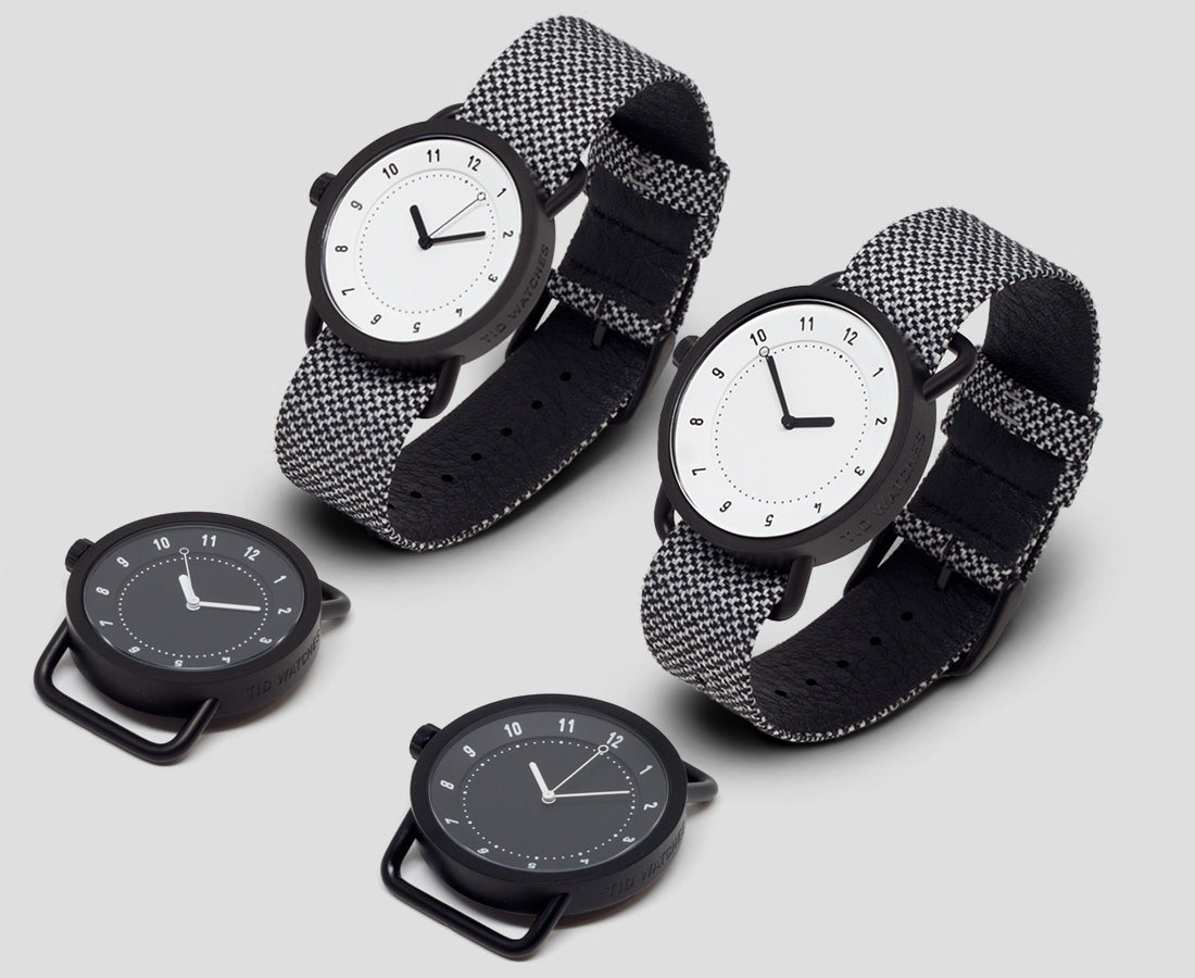TID Watches from Stockholm 36mm and 40mm size, black, white, steel