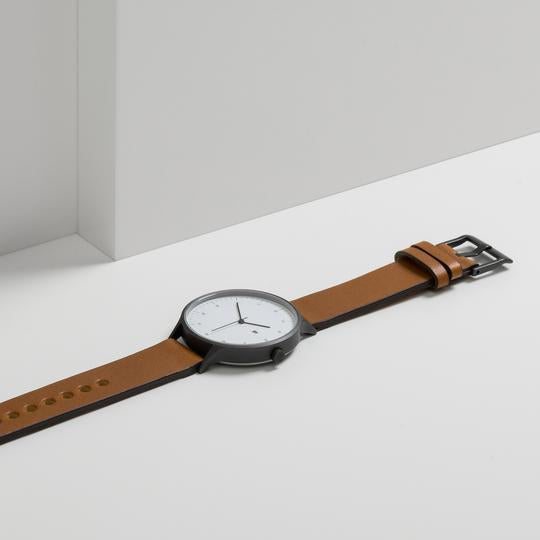 Instrmnt 01-A Watch in Gunmetal Grey with Tan Leather. Compendium Design Store, Fremantle. AfterPay, ZipPay accepted.