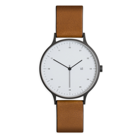 Instrmnt 01-A Watch in Gunmetal Grey with Tan Leather