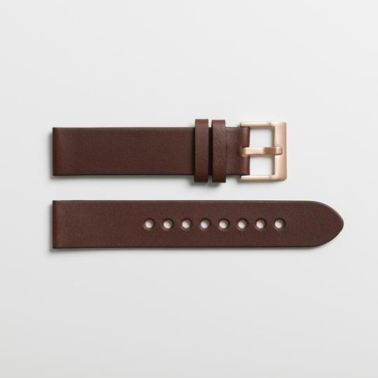Instrmnt 01-B Watch in Rose Gold with Brown Leather. Compendium Design Store, Fremantle. AfterPay, ZipPay accepted.