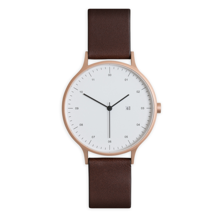 Instrmnt 01-B Watch in Rose Gold with Brown Leather