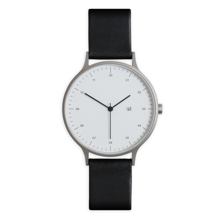 Instrmnt 01-C Watch in Brushed Silver with Black Leather
