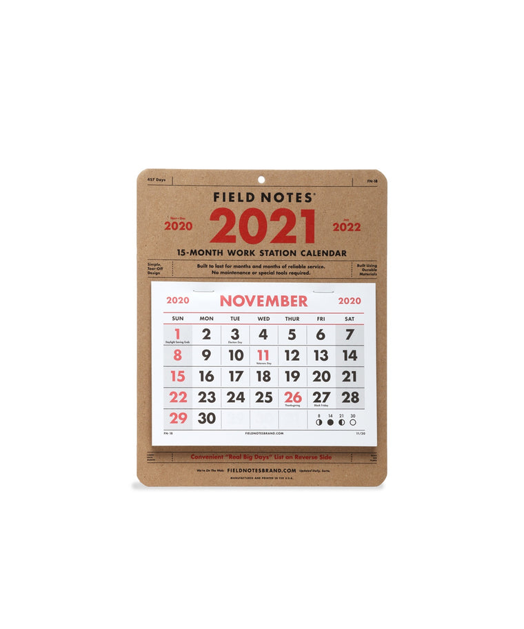 2021 15-Month Work Station Calendar