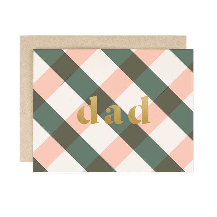 Dad (Plaid) Father's Day Card. Compendium Design Store, Fremantle. AfterPay, ZipPay accepted.