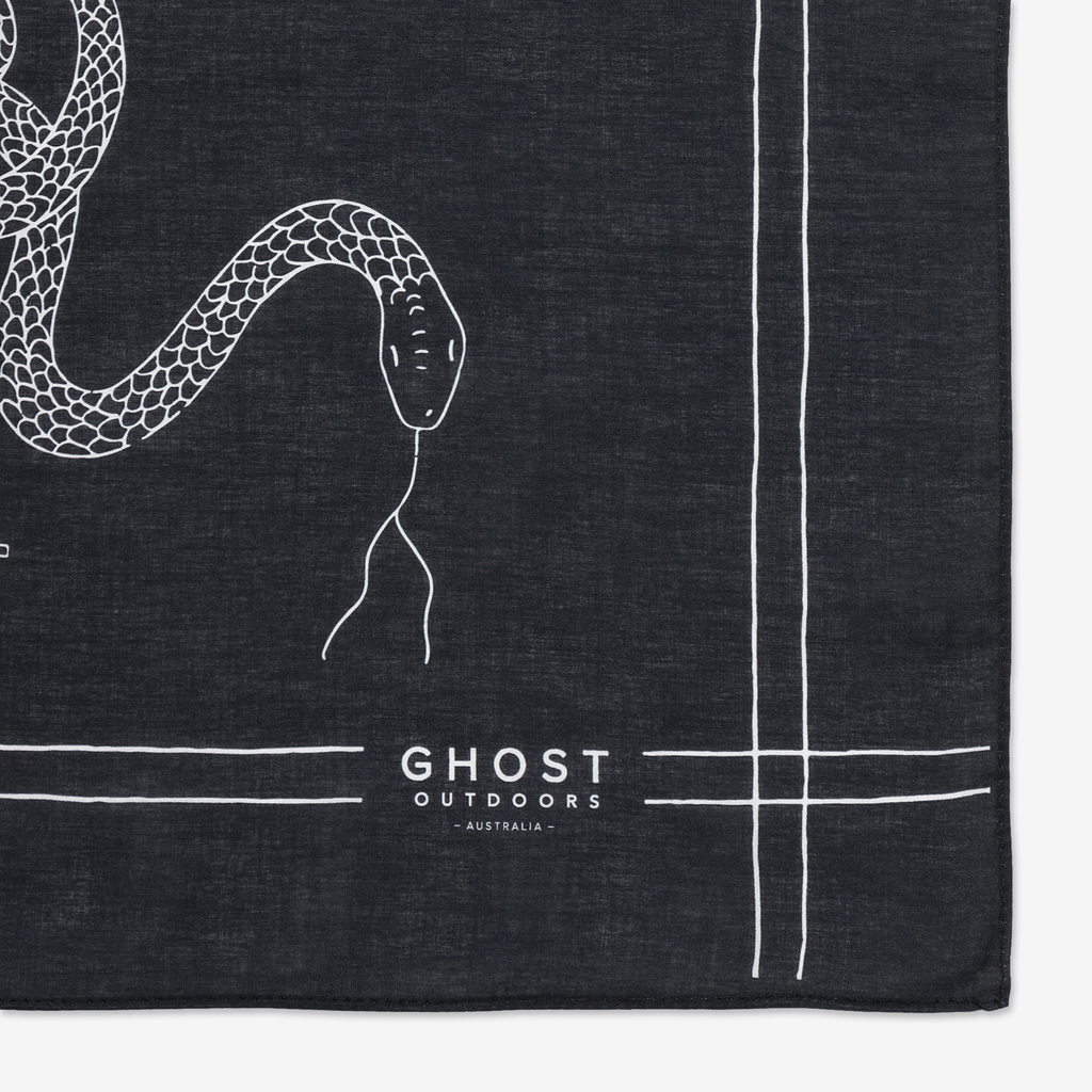 Ghost Outdoors Charcoal Serpent Bandana. Compendium Design Store, Fremantle. AfterPay, ZipPay accepted.