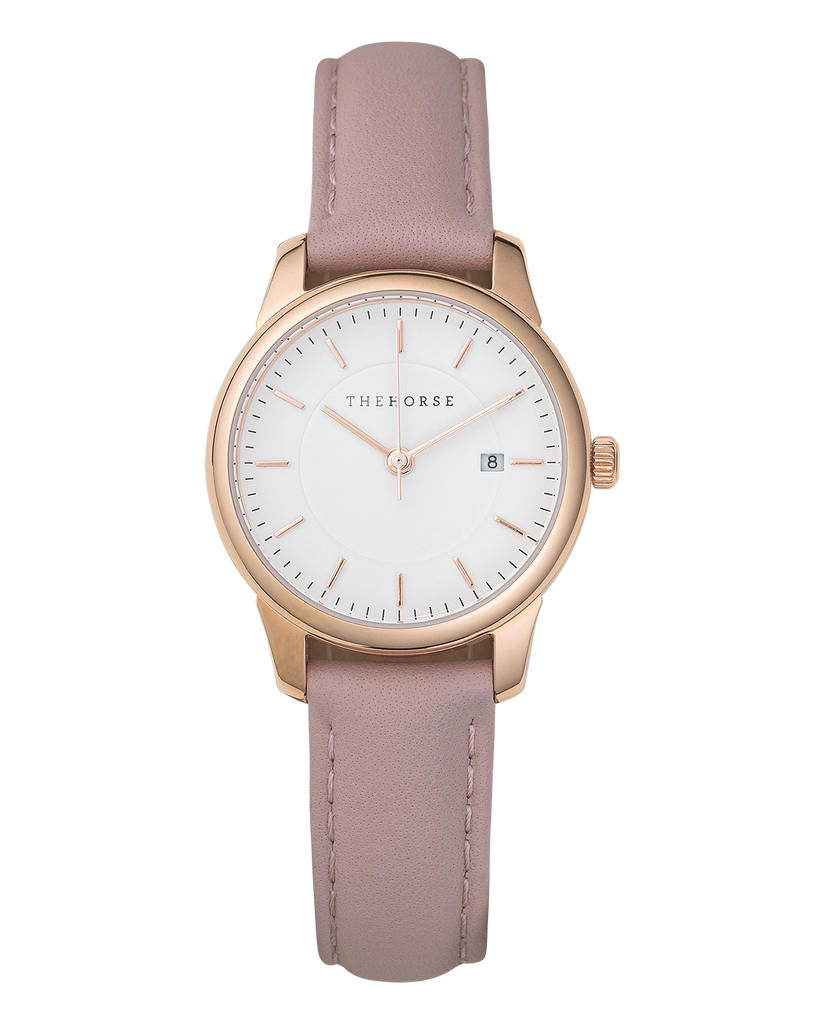 IG4 The Horse Ivy Girl Ladies Watch with Date Polished Rose Gold Case / White Dial / Blush Leather. Compendium Design Store, Fremantle. AfterPay, ZipPay accepted.