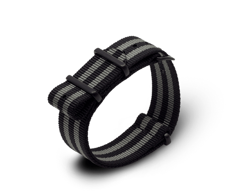 Nato Watch Strap in Black / Dark Grey Stripe with Black PVD Hardware