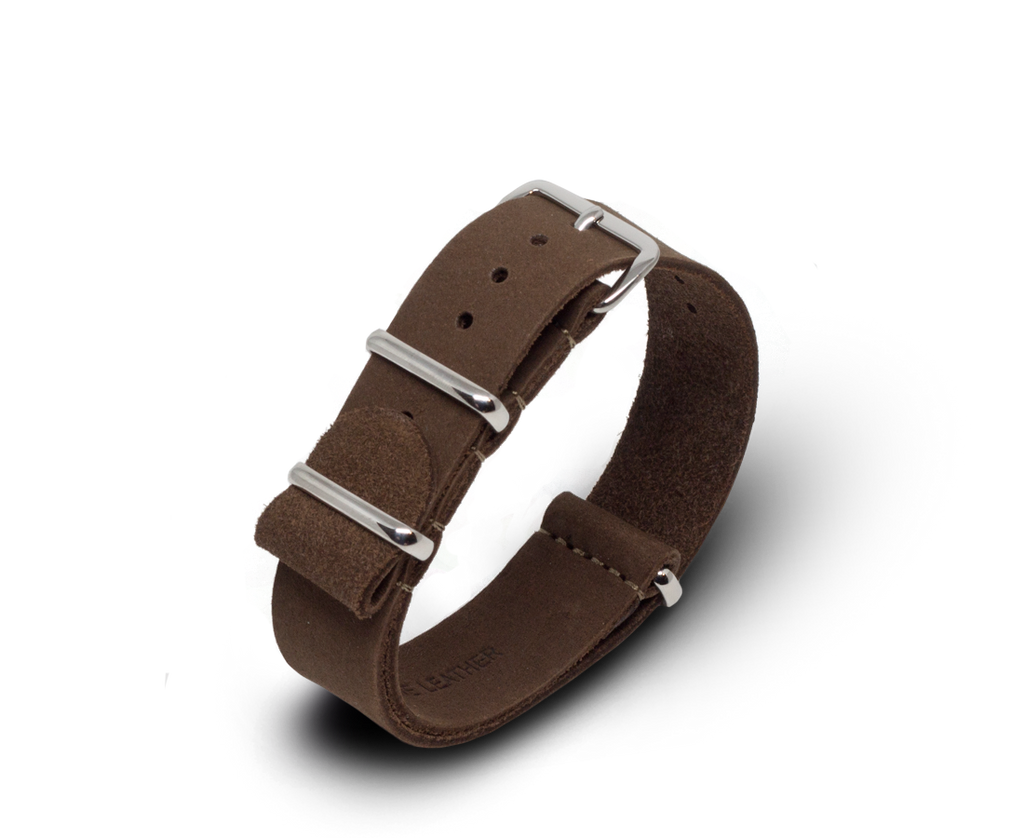 Leather Nato Watch Strap in Matte Brown with Silver Hardware