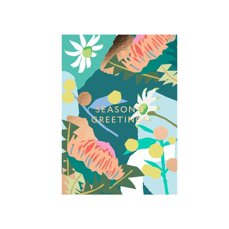 Season's Greetings Christmas Card by Leah Bartholomew for Studio Milligram - Green. Compendium Design Store, Fremantle. AfterPay, ZipPay accepted.