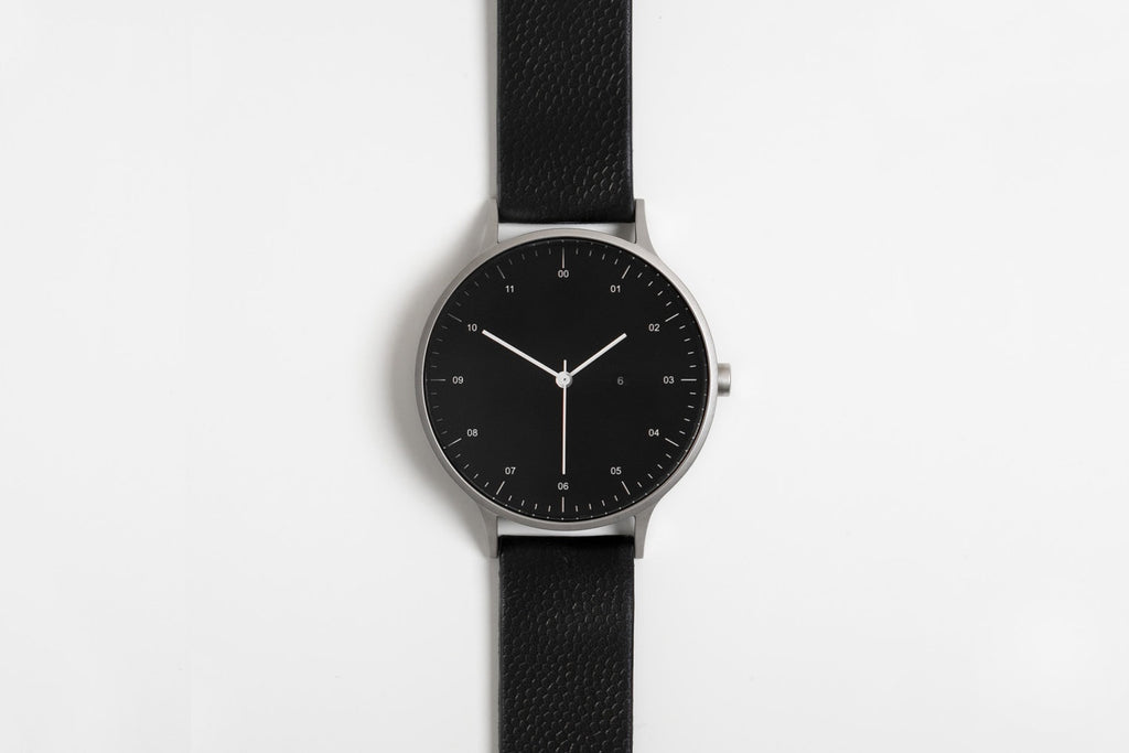 Instrmnt T-27 Watch in Brushed Silver and Black Textured Leather Strap