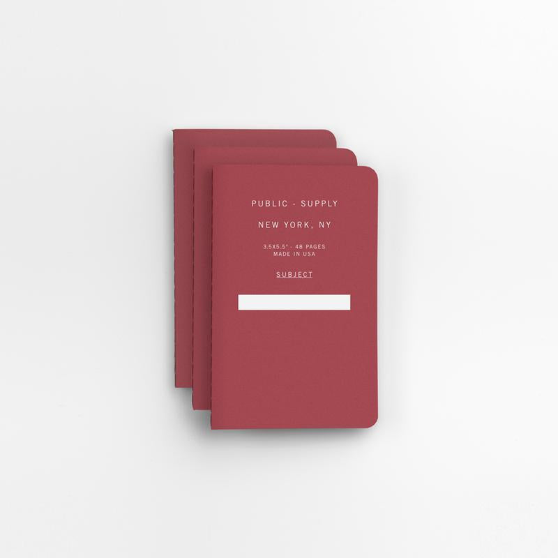 Public Supply Soft Cover Pocket Notebooks in Red - 3 Pack