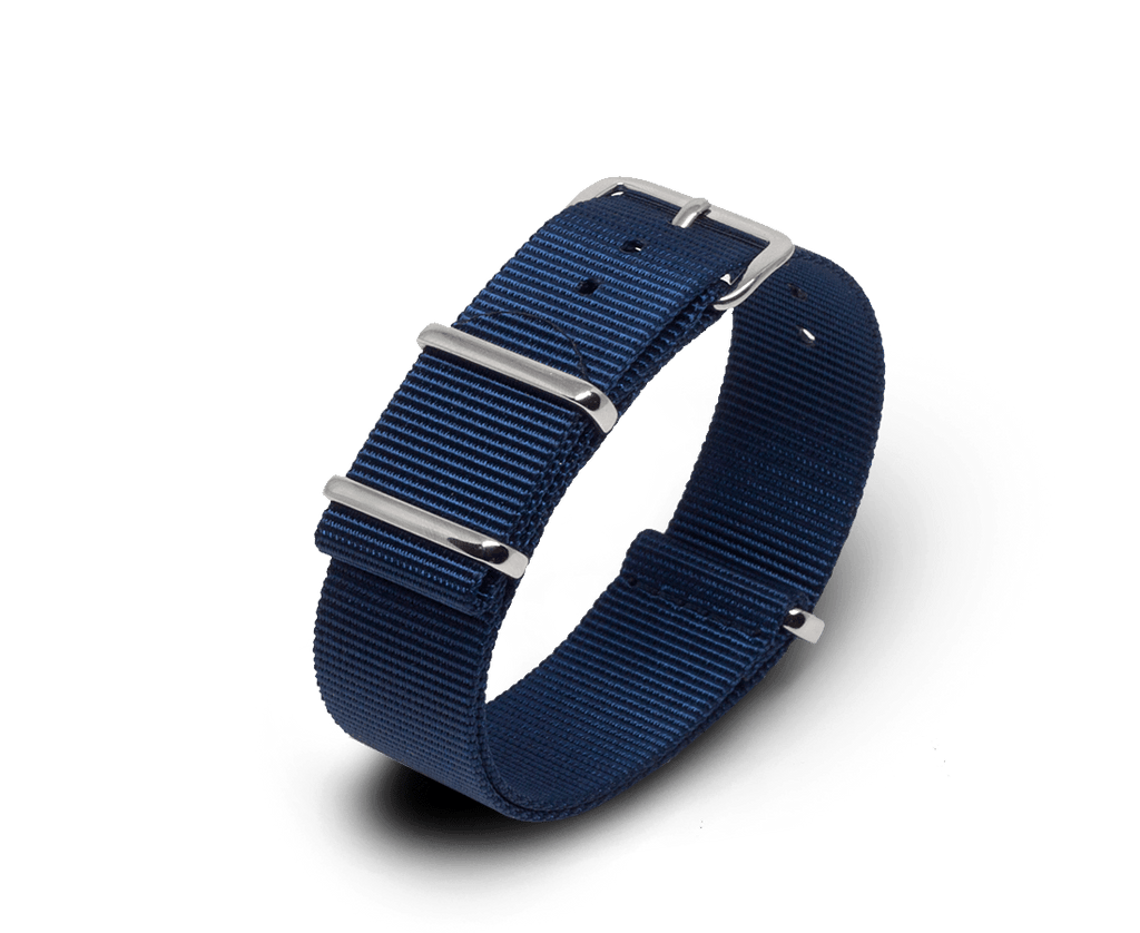 Nato Watch Strap in Navy with Silver Hardware