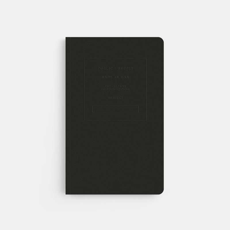 Public Supply Embossed Notebook in Black. Compendium Design Store, Fremantle. AfterPay, ZipPay accepted.