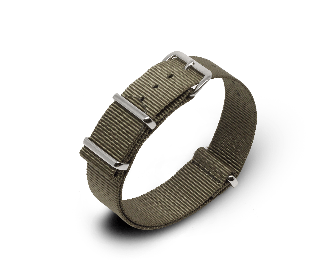 Nato Watch Strap in Khaki Green with Silver Hardware