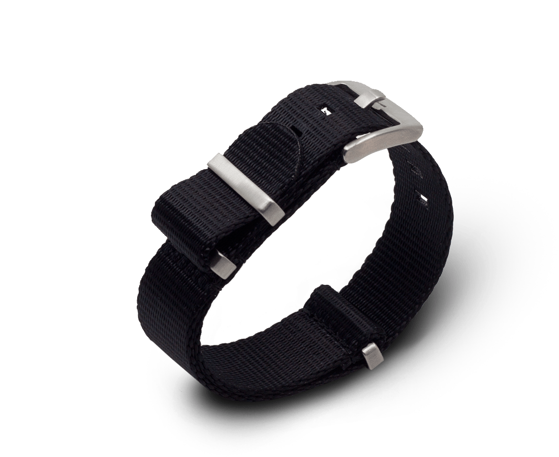Nato Watch Strap in Premium 'Seat Belt' Black with Silver Hardware. Compendium Design Store, Fremantle. AfterPay, ZipPay accepted.