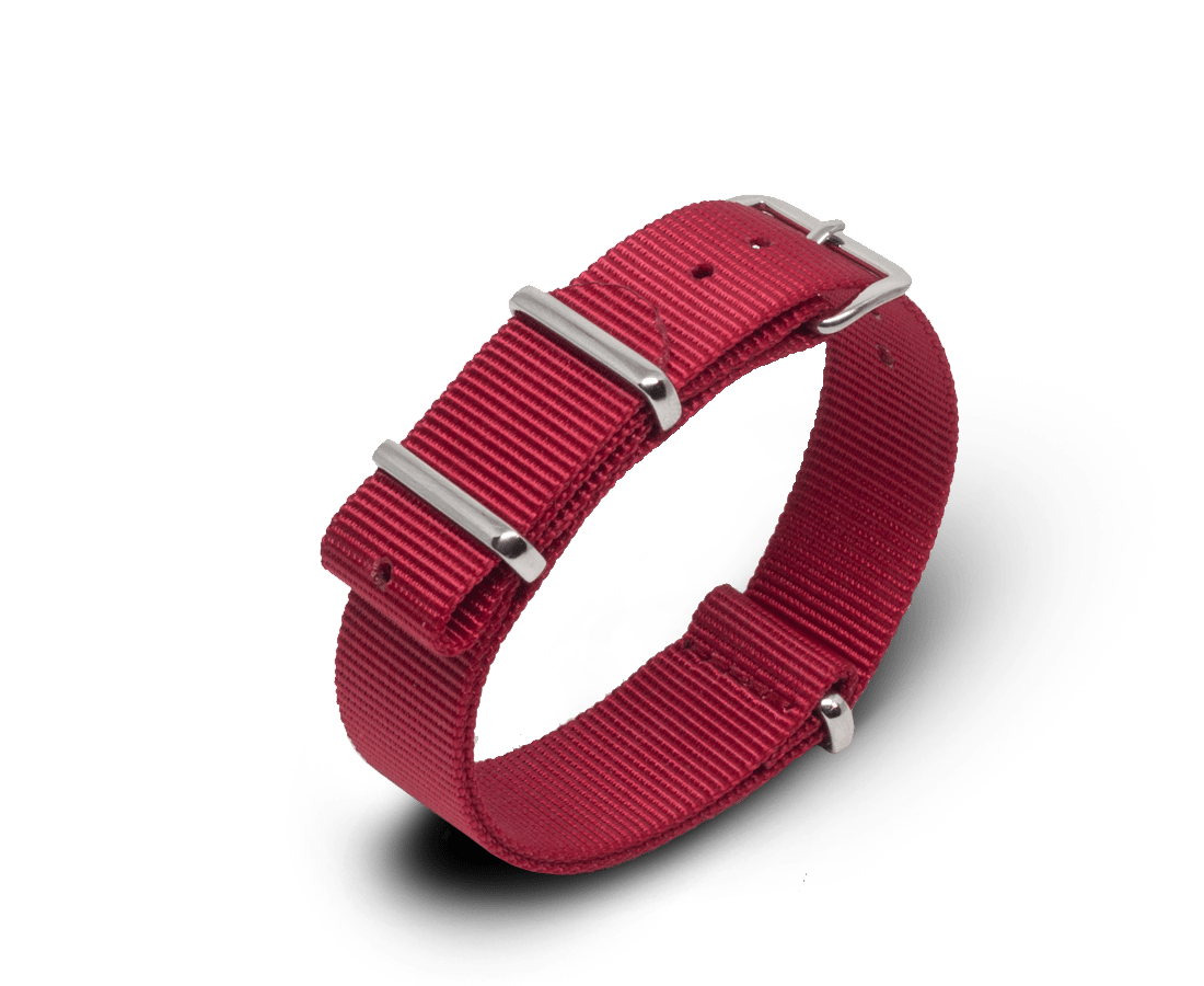 Nato Watch Strap in Red with Silver Hardware. Compendium Design Store, Fremantle. AfterPay, ZipPay accepted.