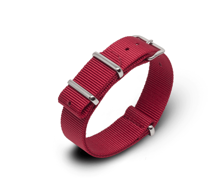 Nato Watch Strap in Red with Silver Hardware