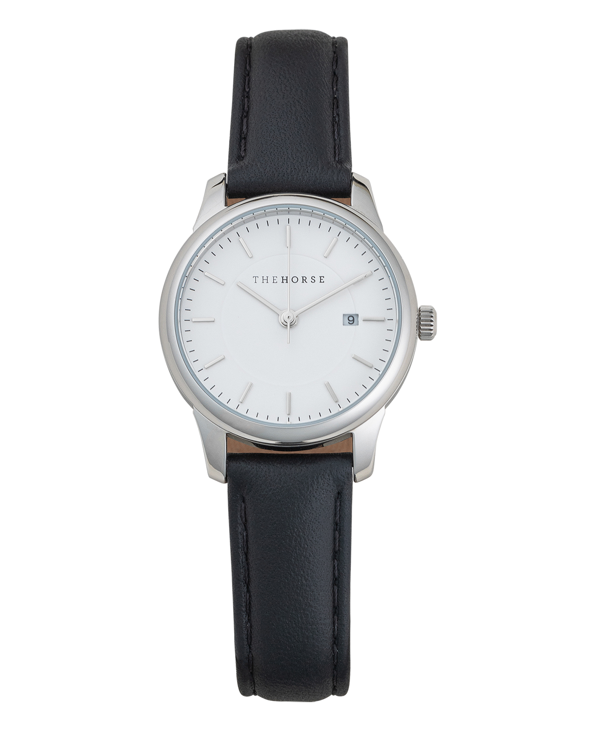 IG5 The Horse Ivy Girl Ladies Watch with Date Polished Silver Case / White Dial/ Black Leather. Compendium Design Store, Fremantle. AfterPay, ZipPay accepted.