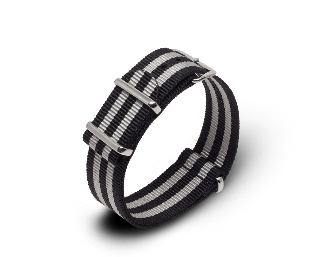 Nato Watch Strap in Black / Silver Stripes with Silver Hardware
