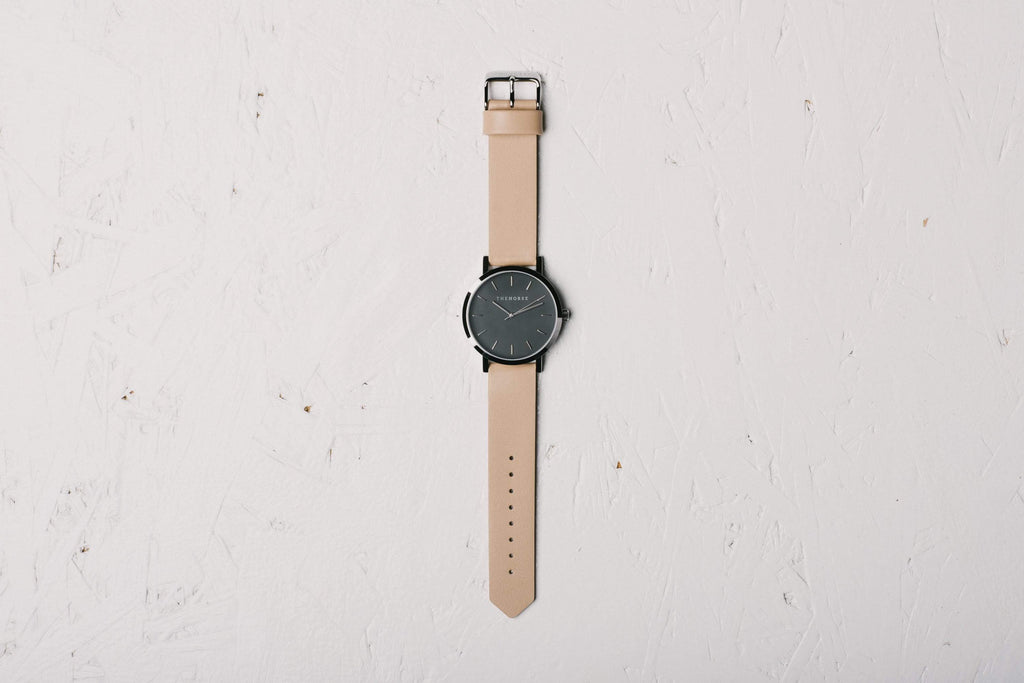 A1 The Horse Original watch in Polished Steel and Black with Veg Tan. Compendium Design Store, Fremantle. AfterPay, ZipPay accepted.