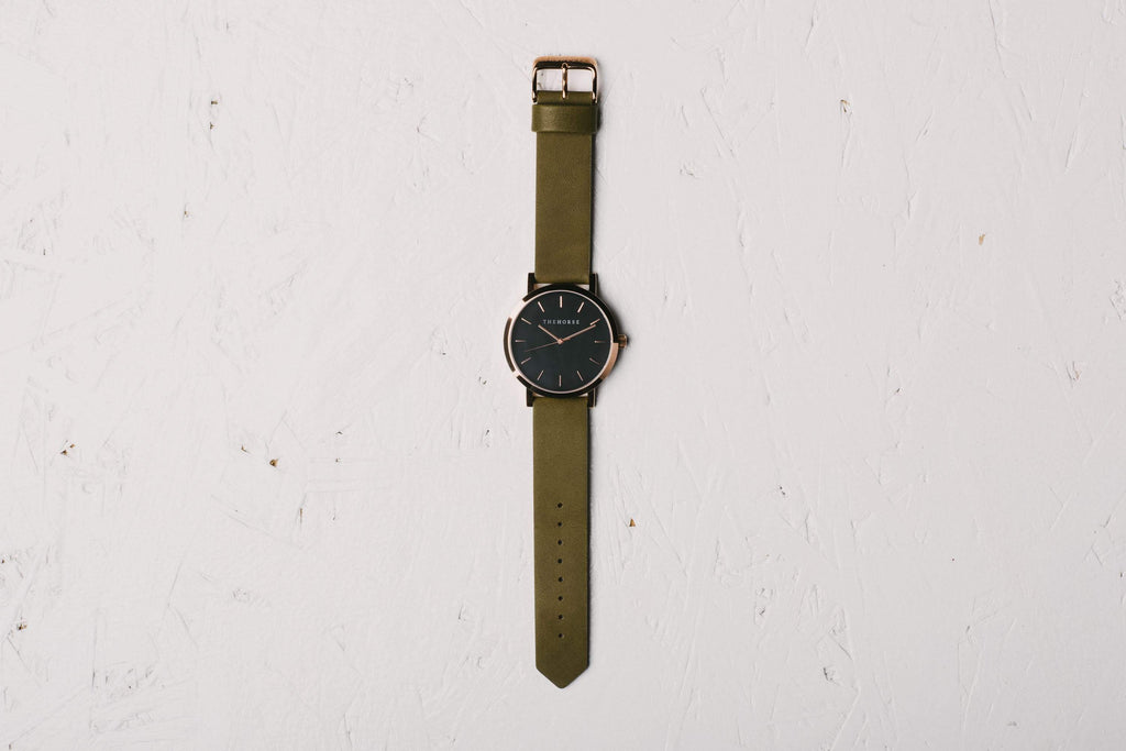 A22 The Horse Original watch in Polished Rose Gold and Black with Olive