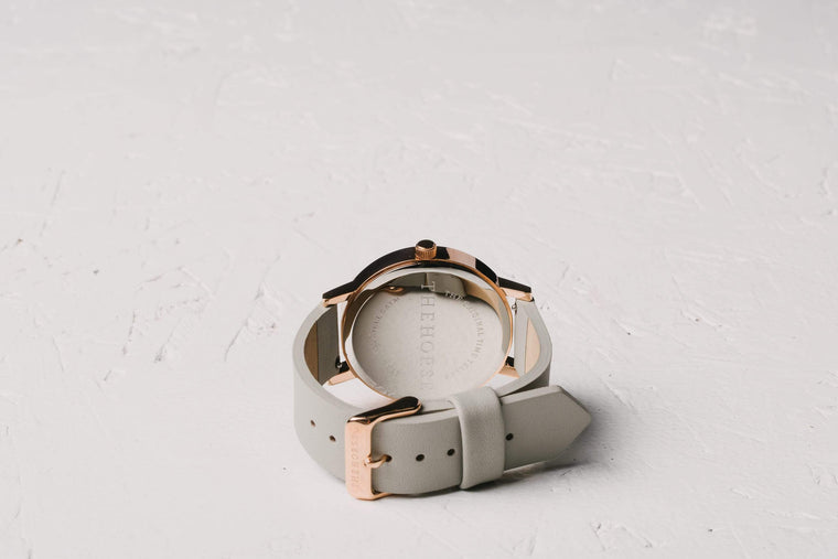 A23 The Horse Original watch in Polished Rose Gold and White with Grey. The Horse. Compendium Design Store. AfterPay, ZipPay accepted.